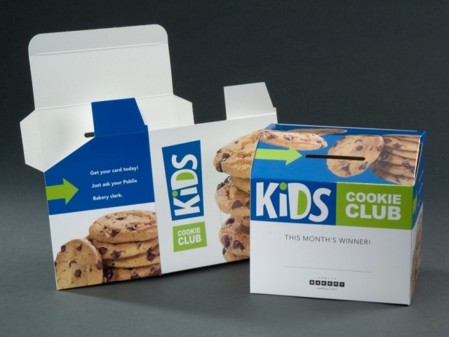 This design served as a collection box for entry slips. The parameters of the project called for an easy set up display that could be produced quickly and at low cost. Oh, and the entries were from kids wanting to win free cookies. Sweet!