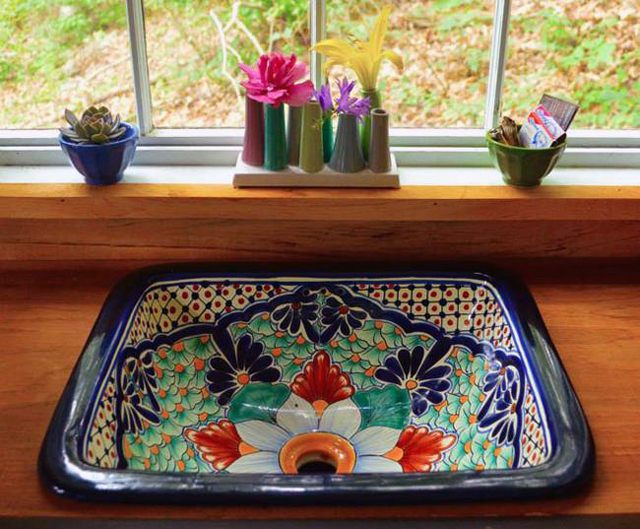Custom sink design made for a tiny forest house.